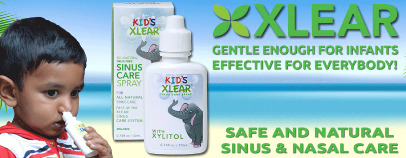 Kid's Xlear Sinus Care Banner with Natie and product
